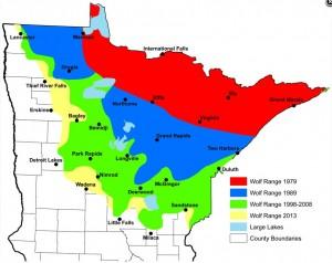 MN wolf range map